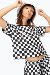 HYPE PLAYSTATION BLACK CHECKERBOARD WOMEN'S CROP T-SHIRT