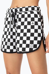 HYPE PLAYSTATION BLACK CHECKERBOARD WOMEN'S RUNNER SHORTS