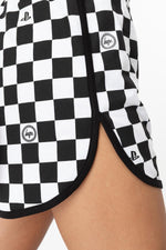 HYPE PLAYSTATION BLACK CHECKERBOARD WOMENS RUNNER SHORTS