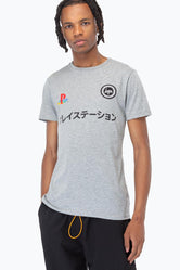 HYPE PLAYSTATION GREY DUAL LOGO MENS T-SHIRT