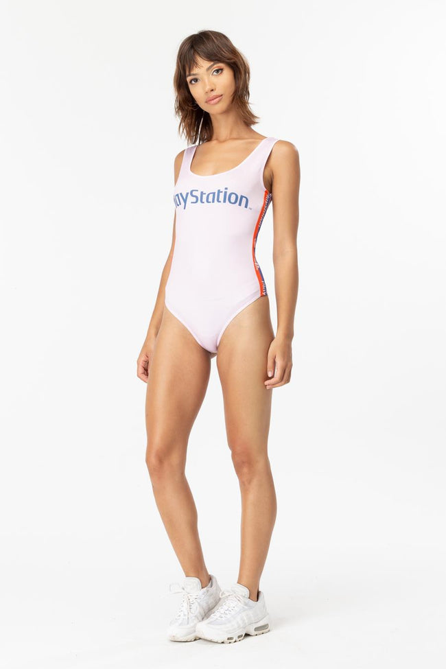 HYPE PLAYSTATION PINK TAPE WOMENS BODYSUIT