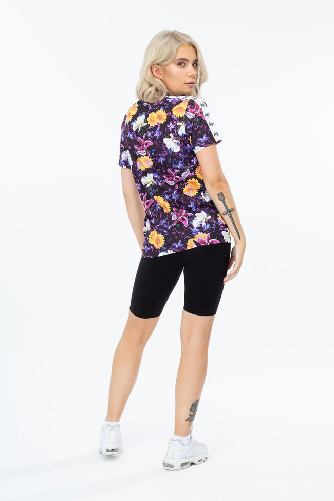HYPE PURPLE FLORAL TAPED WOMEN'S T-SHIRT