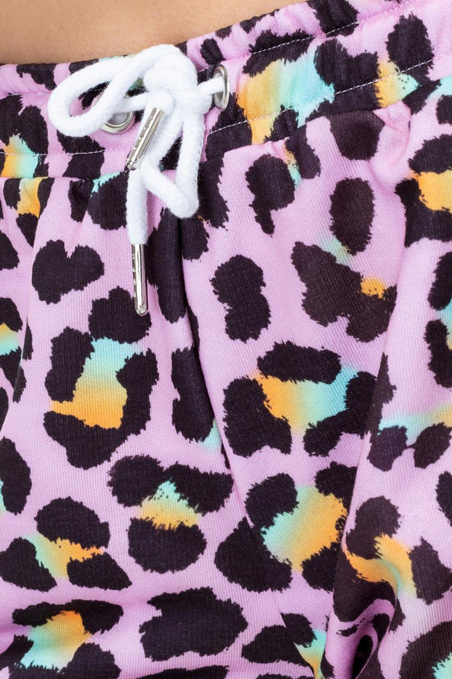 HYPE DISCO LEOPARD WOMENS RUNNER SHORTS