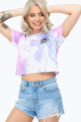 HYPE SPLATTER PALMS WOMENS CROP T-SHIRT