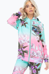 HYPE FADE FLORAL WOMENS POLY ZIP HOODIE