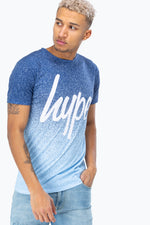 HYPE BLUE SPECKLE FADE SCRIPT MEN'S T-SHIRT