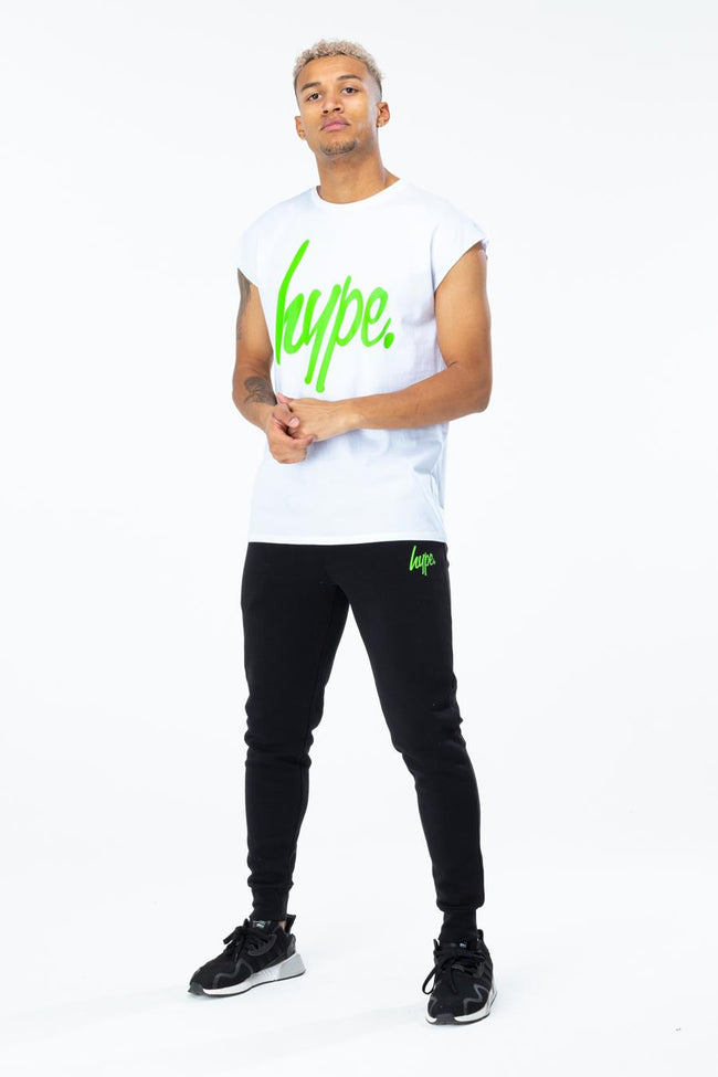 HYPE WHITE SCRIPT MENS SLEEVELESS T-SHIRT