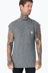 HYPE BLACK STRIPE POCKET MENS SLEEVELESS T-SHIRT
