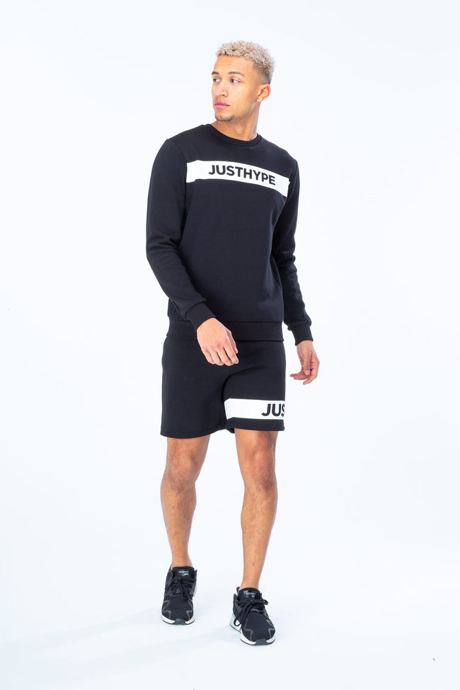 HYPE BLACK JUST HYPE STRIPE MENS CREW NECK