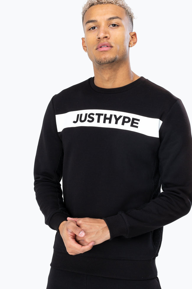 HYPE BLACK WHITE JUST HYPE STRIPE MENS CREW NECK