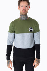 HYPE KHAKI TRI PANEL CREST MENS CREW NECK
