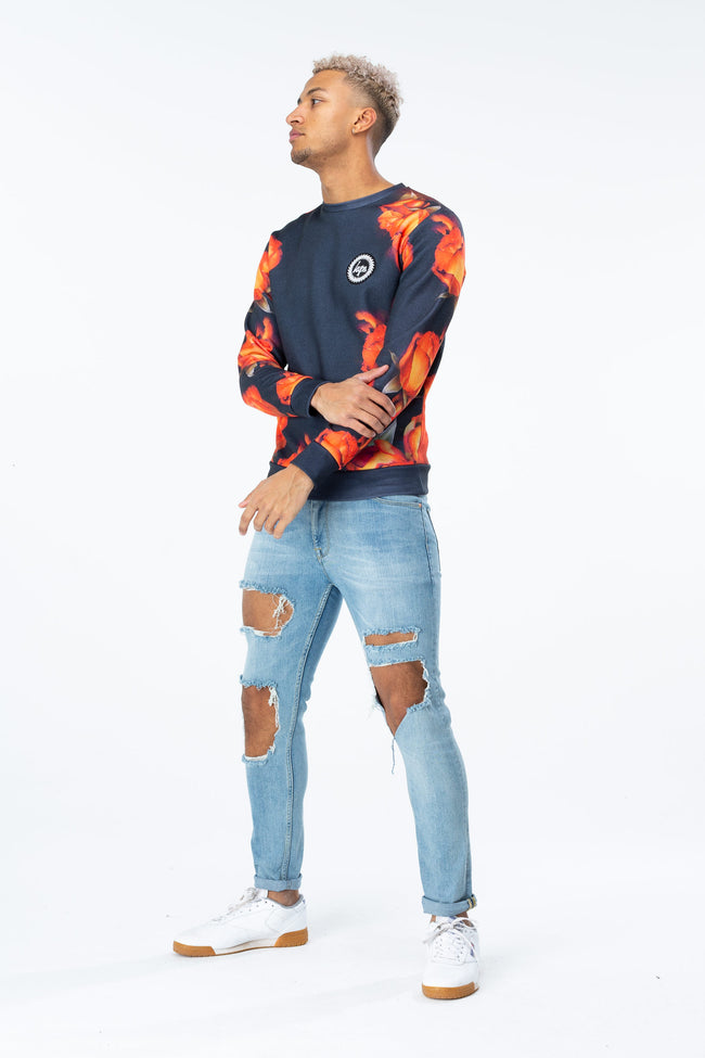 HYPE ORANGE ROSE MENS CREW NECK