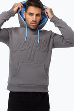 HYPE CHARCOAL EMBOSSED SCRIPT MEN'S PULLOVER HOODIE