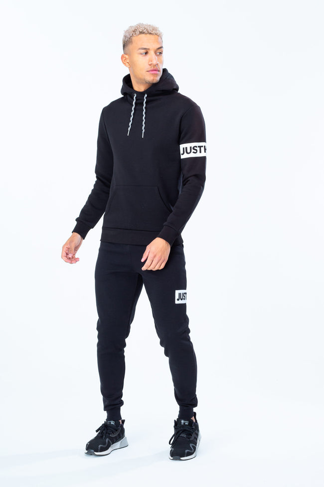 HYPE BLACK JUST HYPE STRIPE MEN'S PULLOVER HOODIE