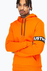 HYPE ORANGE JUST HYPE STRIPE MEN'S PULLOVER HOODIE