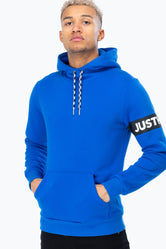 HYPE BLUE JUST HYPE STRIPE MEN'S PULLOVER HOODIE