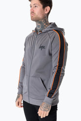 HYPE CHARCOAL SIDE STRIPE SCRIPT MENS POLY TRACK JACKET