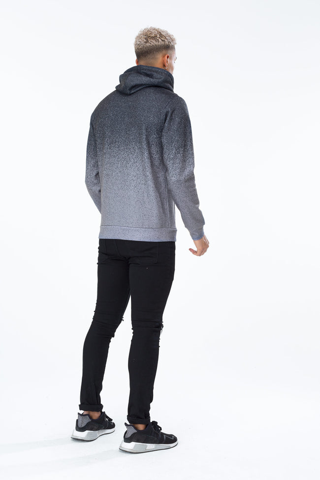 HYPE BLACK SPECKLE FADE CREST MENS PULLOVER HOODIE
