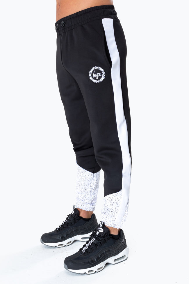 HYPE BLACK SPECKLE FADE CREST MENS TRACK PANTS