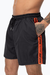 HYPE BLACK WARNING TAPE MEN'S SHORTS