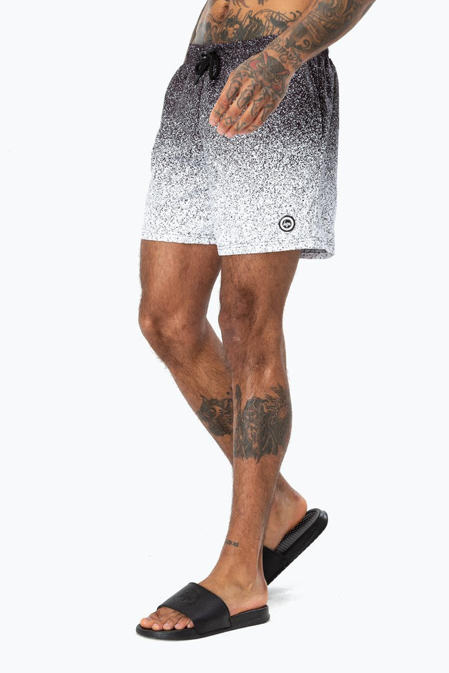 HYPE BLACK SPECKLE FADE CREST MEN'S SWIM SHORTS