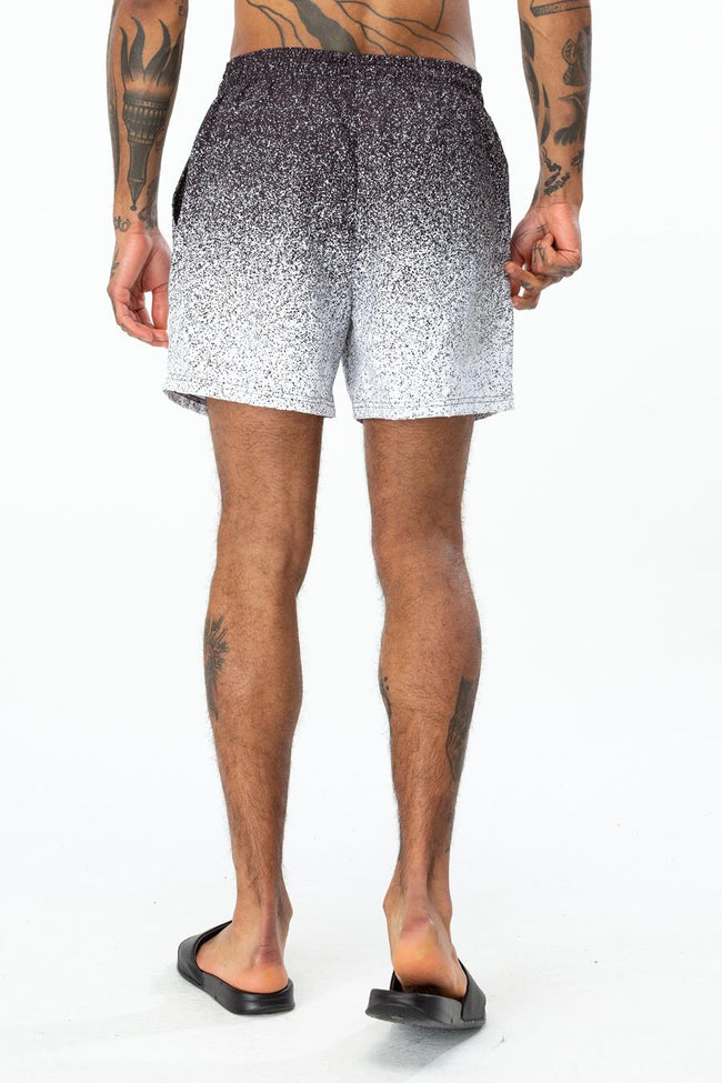 HYPE BLACK SPECKLE FADE CREST MENS SWIM SHORTS