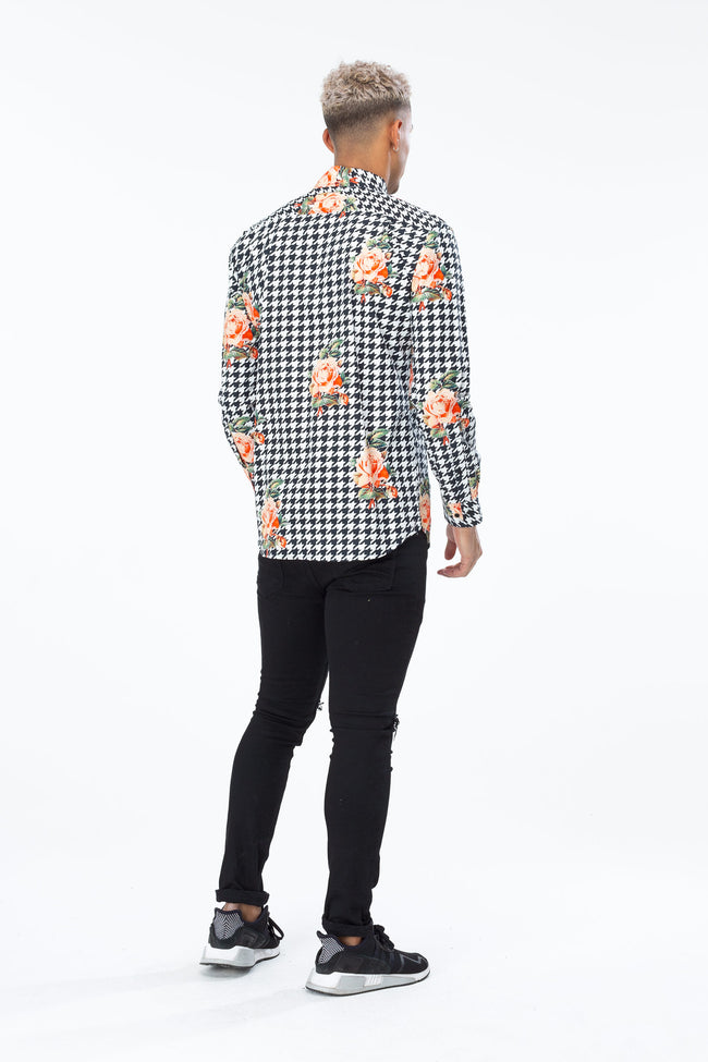 HYPE BLACK DOGTOOTH ROSE MEN'S SHIRT