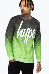 HYPE BLUE SPECKLE FADE SCRIPT MEN'S CREWNECK