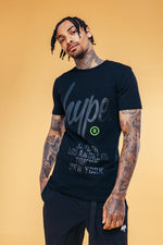 HYPE BLACK REGISTERED SCRIPT MENS T-SHIRT