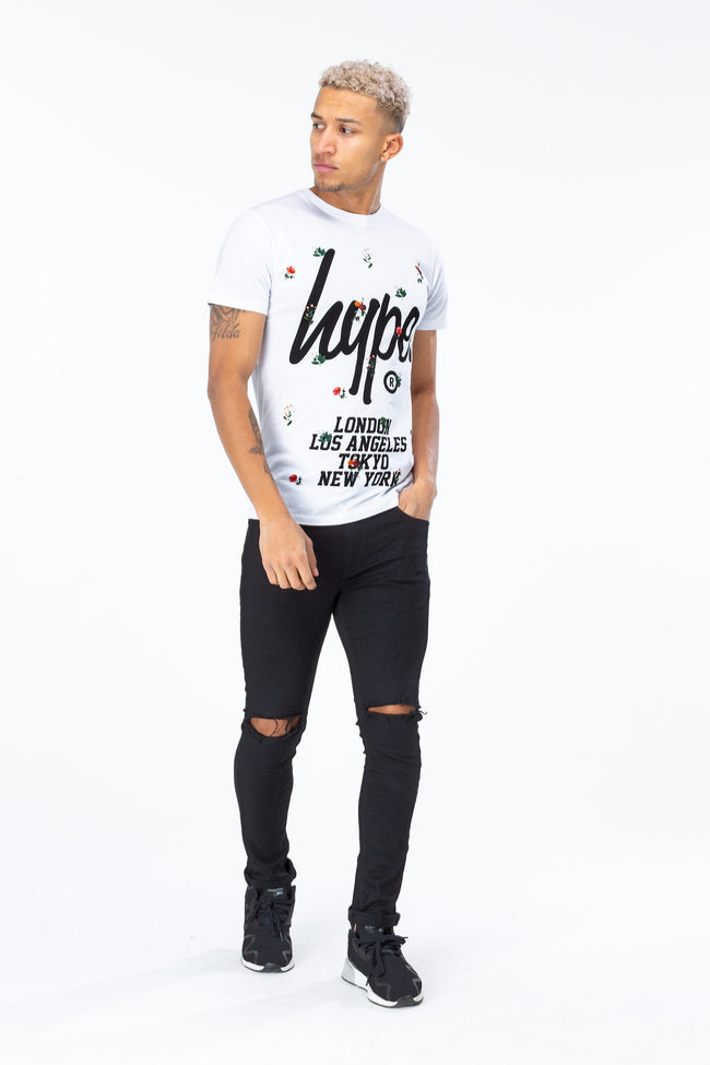 HYPE WHITE CAPITAL FLORAL MEN'S T-SHIRT