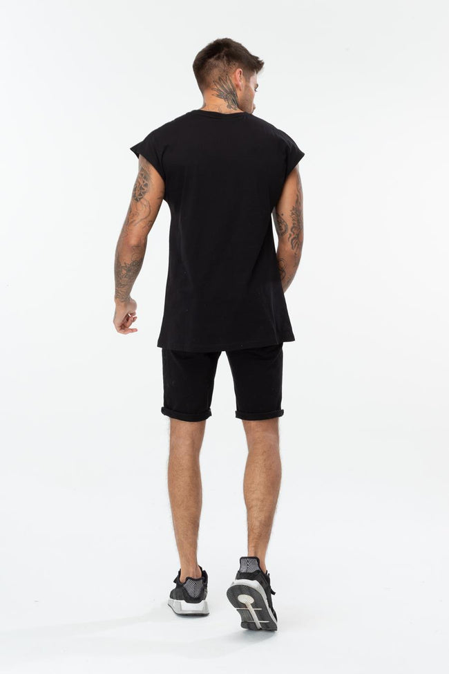 HYPE BLACK SPECKLE BOX SCRIPT MENS SLEEVELESS T-SHIRT
