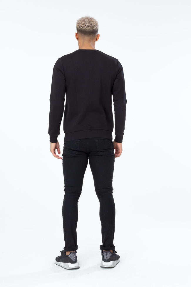 HYPE BLACK SPECKLE BOX SCRIPT MENS CREW NECK