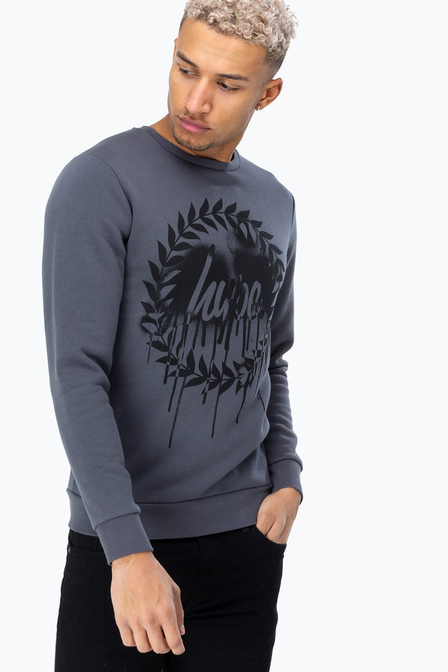 HYPE CHARCOAL DRIP CREST MENS CREW NECK