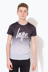 HYPE BLACK MONO SPECKLE FADE SCRIPT KIDS T-SHIRT