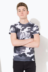 HYPE GREY CAMO SCRIPT KIDS T-SHIRT