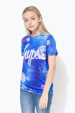 HYPE BLUE COSMIC SYSTEM SCRIPT KIDS T-SHIRT