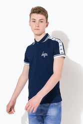 HYPE NAVY TAPE SCRIPT KIDS POLO SHIRT
