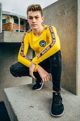 HYPE YELLOW TAYLOR TAPE KIDS CREW NECK