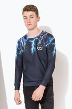 HYPE BLUE LIGHTNING NECK KIDS CREWNECK
