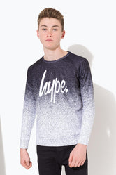 HYPE BLACK MONO SPECKLE FADE SCRIPT KIDS CREW NECK