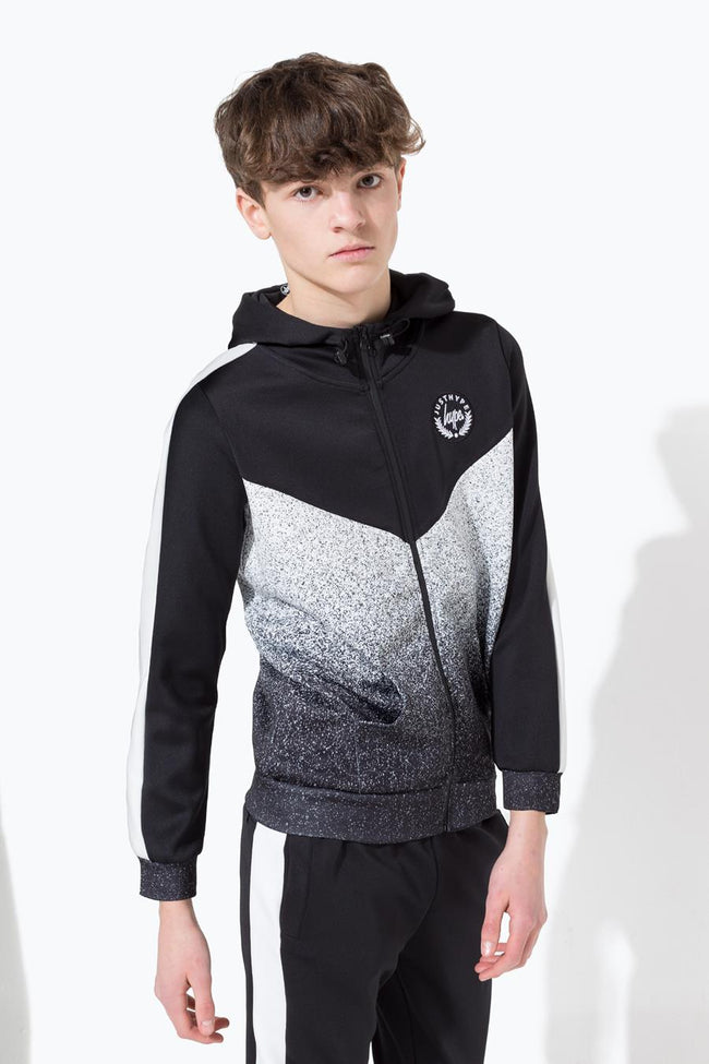 HYPE BLACK SPECKLE FADE CREST KIDS TRACK JACKET