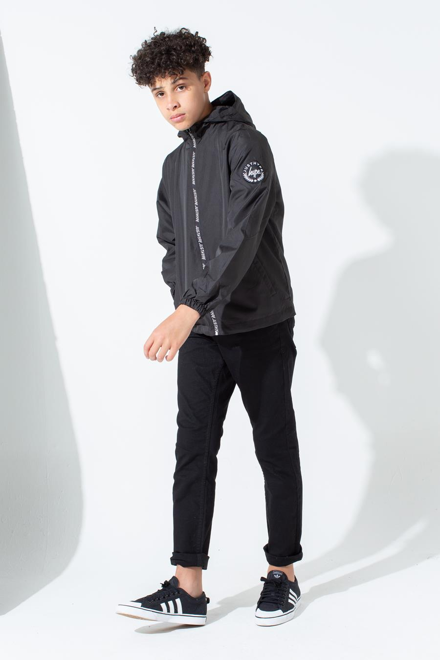 new concept classic styles on feet images of HYPE BLACK JUST HYPE TAPED KIDS RUNNER JACKET | Justhype ltd