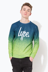 HYPE NAVY SPECKLE FADE SCRIPT KIDS CREW NECK