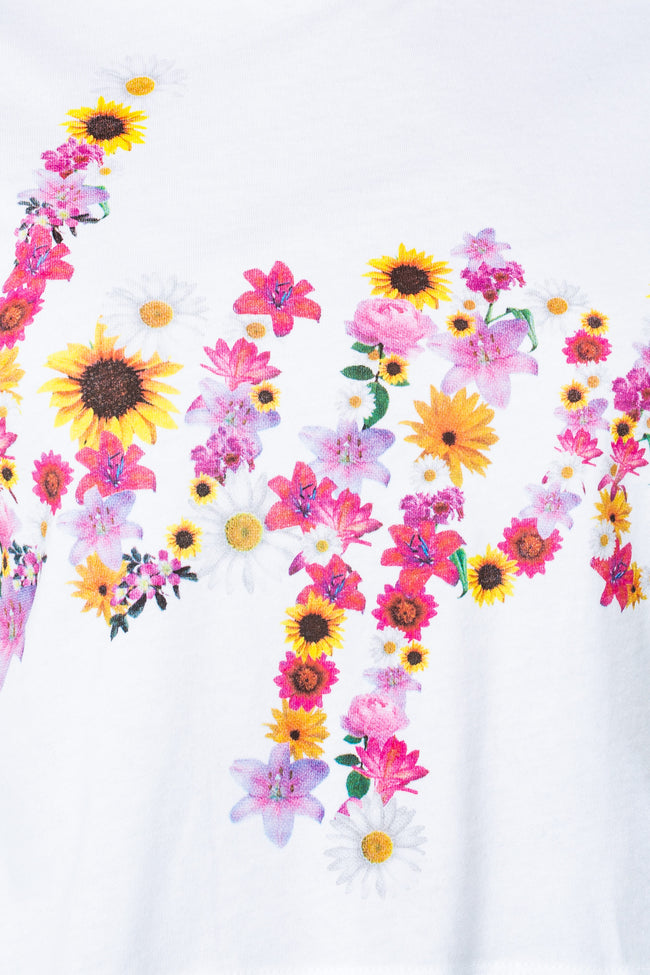 HYPE WHITE FLOWER SCRIPT WOMENS CROP T-SHIRT