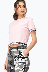 HYPE PINK JUST HYPE TAPE WOMEN'S CROP T-SHIRT