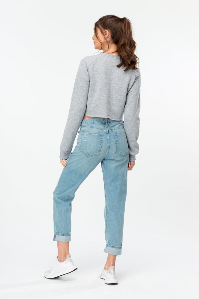 HYPE GREY SEQUIN SCRIPT WOMENS CROP CREW NECK