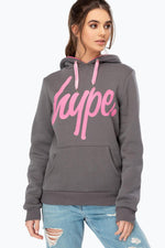HYPE CHARCOAL CONTRAST SCRIPT WOMEN'S PULLOVER HOODIE