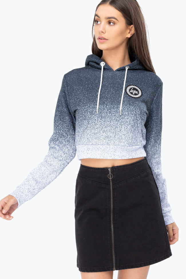 HYPE BLACK SPECKLE FADE CREST WOMENS CROP HOODIE