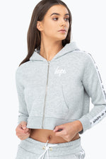 HYPE GREY JUST HYPE TAPE WOMEN'S CROP HOODIE