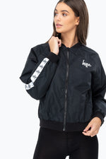 HYPE BLACK SCRIPT TAPE WOMENS CROP BOMBER JACKET